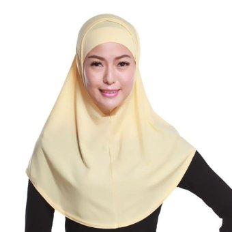 Harga Classical A Set of Two Solid Muslim Hijab Scarf Scarf Hijab National Cap(Beige) - intl