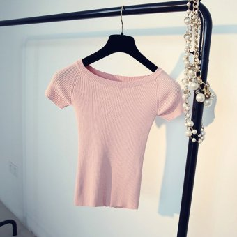 Harga Summer korean version of the solid color sweater female short paragraph slim collar ice silk short sleeve t-shirt shirt bottoming shirt tight (Pink)