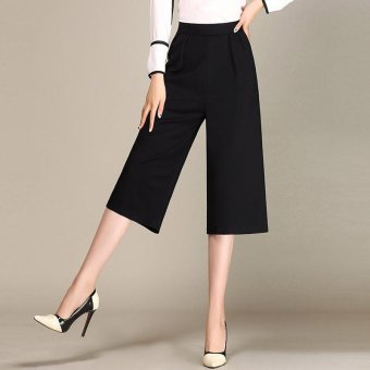 New Korean Fashion Women High Waist Stretch Wide Leg Pants Seven Cropped Pants (Black) - intl