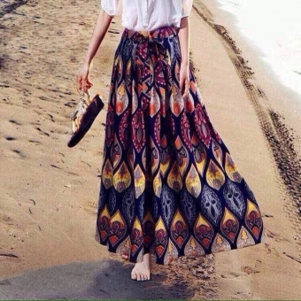 Harga Summer new national wind retro bohemian cotton color printing skirts big skirt dress skirt tide