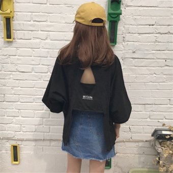 Harga Design sense back cross hollow blouse vintage embroidery short sleeve t-shirt female korean fan hong kong flavor wild compassionate (Black)