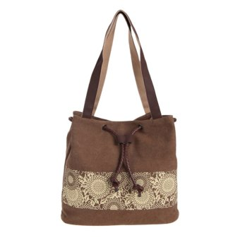 Harga Woman Canvas Printing Handbag (Brown) - intl