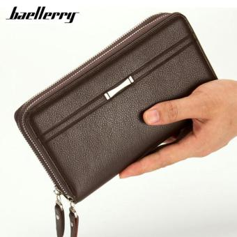 Harga Baellerry Men PU Leather Wallets Large Capacity Clutch Business Double Zipper Long Multifunction Wallet Hand Bags Purse (Brown) - intl