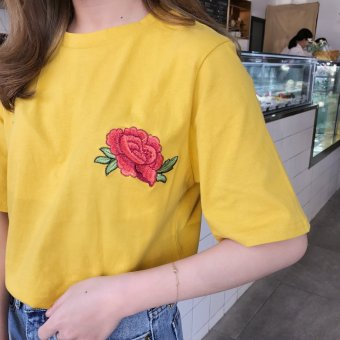Summer new korean wild flowers embroidered round neck short sleeve t-shirt female students loose thin bottoming shirt coat