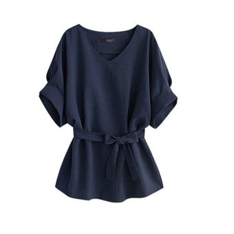 Harga Women Lady V-neck blouse bat sleeve cotton & linen Top Shirt Dark Blue - intl