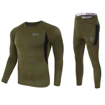 Harga Men's Ultra Soft Thermal Underwear Long Johns Set with Spandex Lined Army Green L - intl