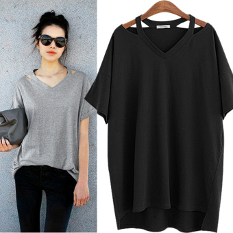 Special large yards Women's 200 of fat mm summer Plus-sized short-sleeved t-shirt women off-the-shoulder Top Short sleeve bottoming shirt (Black)