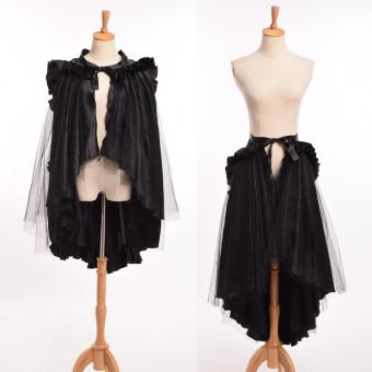 Harga (Hand Made) Unique Victorian Long Ruffle Bustle Skirt Cape Women Steampunk Retro Gothic Cape Cloak(Int: One size) - intl