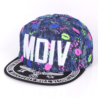 Harga 2017 new tide graffiti letters flat brimmed baseball cap flat along the cap hip-hop hip-hop hat korean version of spring and summer men and women (M dark blue)