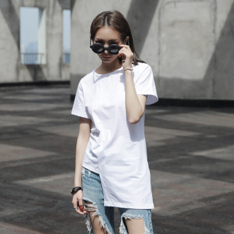 Harga SIMPLE black hong KONG style summer ladies wild simple irregular design short sleeve t-shirt (White)