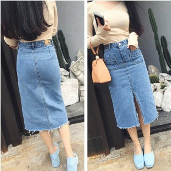 Harga Spring and autumn front slit edges wild long section of the korean version of the slim was thin denim skirts package hip skirt high waist skirt female