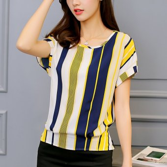 Harga 2017 summer korean version of the new women's stripes short sleeve t-shirt fashion slim yards bottoming shirt casual shirt (Yellow stripe)
