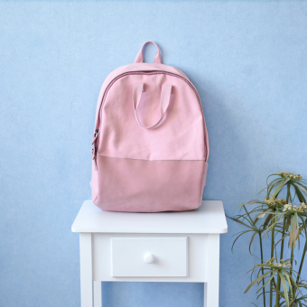 New POY original girls small fresh literature and art shoulder bag solid color plain weave stitching backpack high school students bag (Pink)