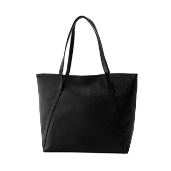 Harga Woman Solid Color Basic Shoulder Bag (Black)