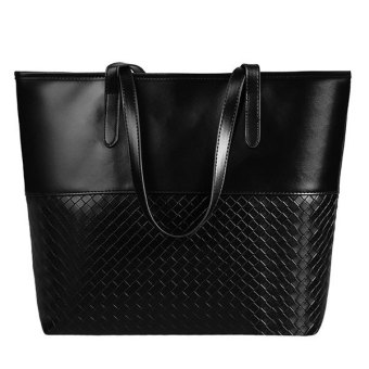 SuperCart Fashion Women Elegant Large Capacity Solid Shoulder Bags Handbag Casual Tote (Black) (EXPORT)
