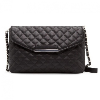 Harga Mango Quilted Chain Sling Bag (Black) intl