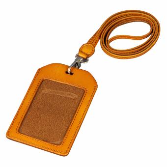 Harga Boshiho Genuine Leather ID Card Badge Holder with Heavy Duty Lanyard Vertical Style(Tan) - intl