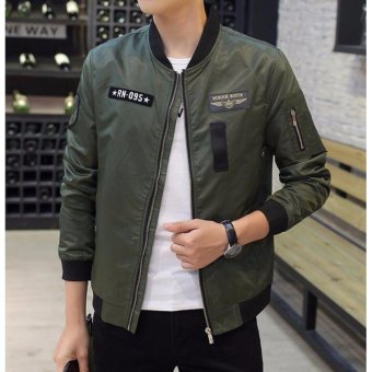 AngelCityMall Fashion Mens Solid Flight Collar Bomber Jacket Green - intl