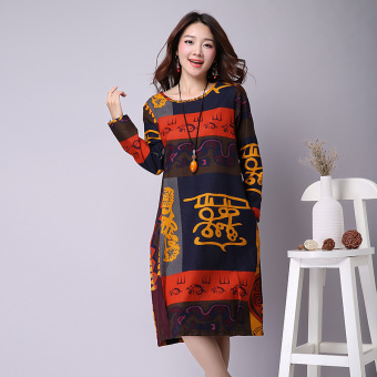 Harga National Wind Linen loose Print round neck long-sleeved dress