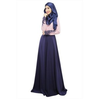 Harga Elegant Muslim Women Lace Sleeves Skirt Slim Long Dress Baju Kurung Arab Loose-fitting Ramadan Clothing Wear Purple - intl