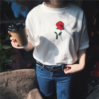Harga South korea ulzzang harajuku style rose embroidery loose short sleeve t-shirt female korean summer sleeve shirt tide compassionate (White)