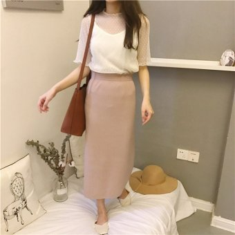 Harga Step skirt slit skirts in the spring of 2017 new female korean wild slim was thin waist a word skirt dress (Lotus pink)