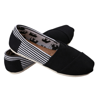 Harga HengSong Tom Thomas Canvas Shoes Stripe Flat Casual Shoes Couple Lover Shoes Black