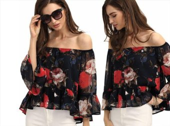 Harga 5987 burst of colorful flower chiffon shirt collar