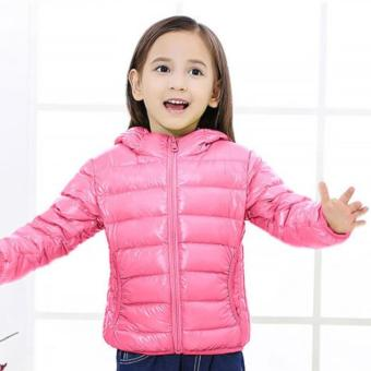 Harga Kids Down Winter Jacket with Hoody - E1 Pink Color