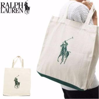 Harga Polo Ralph Lauren Canvas Tote Bag (Off-White/Green)