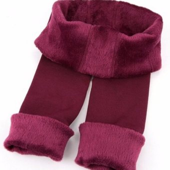 Harga Women Thermal Thick Warm Fleece lined Fur Winter Tight Pencil Leggings Pants Wine Red - intl