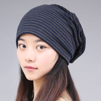 Harga Hat female korean version of spring and summer hat korean version of baotou hat scarf male stripes piles cap chemo cap hip-hop sets of headgear (Blue stripe)