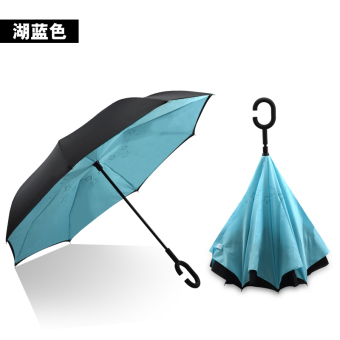 Harga Fashion anti-UV manual open close reverse umbrella sun protection SUN umbrella inverted umbrella fold umbrella (Lake blue)