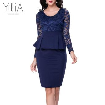 Harga Navy Blue Style Long Sleeve Women Patchwork O Neck Bodycon Sexy Lace Party Peplum Flounce Bandage Pencil Dress Plus Size Vestido-D64 - intl