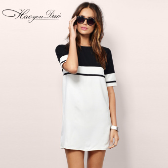 Harga European and American black and white round neck short-sleeved zip hedging female dress
