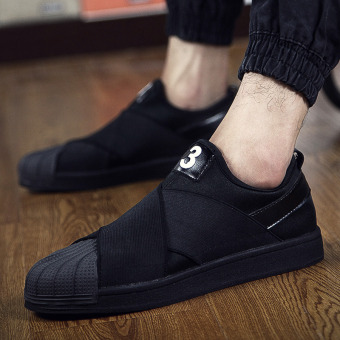 Harga Summer to help low canvas Korean-style Stylish casual Cool wild men's shoes a pedal LR Lin curved tide shoes (39 + All black)