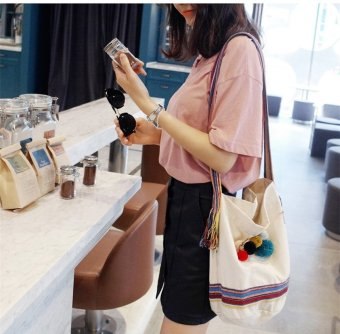 Female retro canvas shoulder bag messenger bag ladies bag messenger bag student canvas shoulder bag bucket bag korean big (Beige)