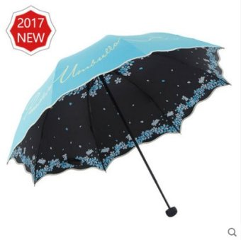 Harga Heaven umbrella folding umbrella vinyl dual women three folding umbrella sun umbrella uv sun umbrella vinyl ((Flowers) sky blue)