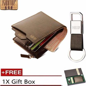 Harga Pabojoe Premium Men Wallet Genuine Leather Wallet Horizontal +FreeKeychain and Gift Box - intl