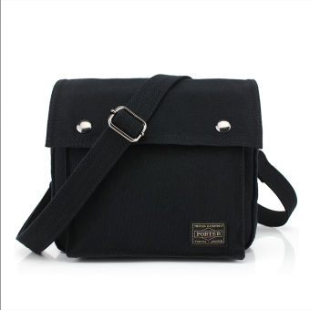Harga Ji Tian canvas bag shoulder bag male casual backpack can be wear belt pockets messenger bag small bag (Black)