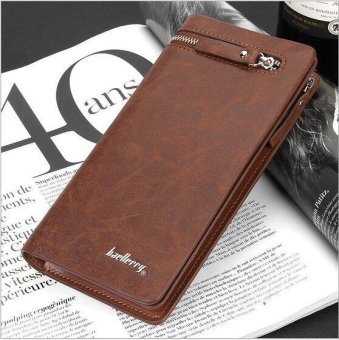 Harga Man long Baellerry brand purse Business hand bag leather wallet (brown)