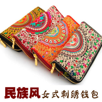 Harga Chinese-style embroidery money flower embroidered wallet