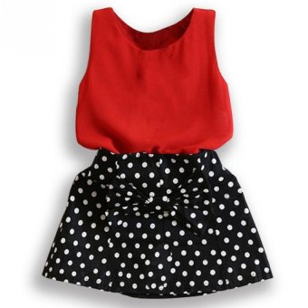 Harga Amart Baby Girl Dress Set Sleeveless T-shirt+ Polka Dot Skirt Outfits Girls Clothes
