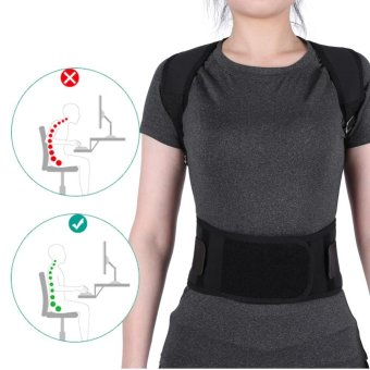 Harga Adjustable Posture Correct Belt Back Lumbar Support Corrector Shoulder Band (Black M) - intl
