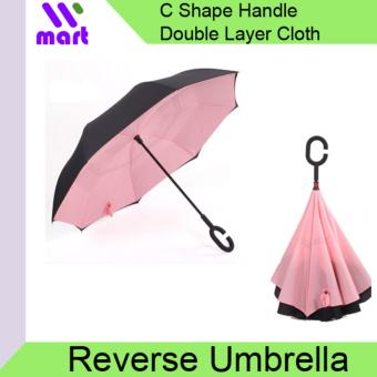 Harga Reverse Umbrella Wind proof with C handle - Pink