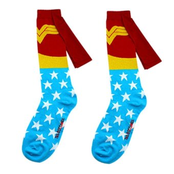 Harga 1 pair socks men Cotton Superman+Batman Long Superhero Socks with Cloak Socks Wonder Woman - intl