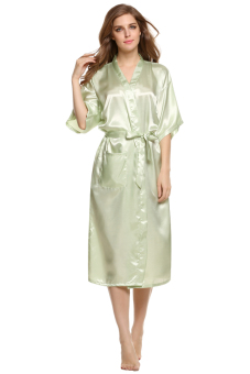 Harga Cyber Sexy Woman Silk Strappy Sleepwear Long Bath Robes Night Gown Pajamas ( Green )