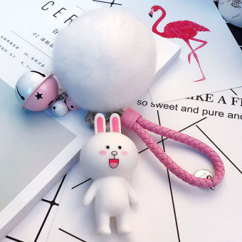 Harga South korean female cartoon bear rabbit doll bag pendant keychain bell ball couple key chain (Nicole rabbit + white ball + bell + powder pink rope)