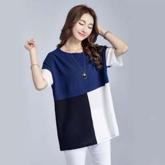 Harga Plus Size Young Fashion Chiffon Loose T-Shirt - Blue - intl
