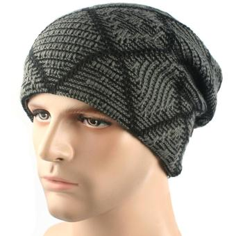 Men Outdoor Winter Ear Protection Warm Soft Slouchy Thick Wool Knit Beanies Cap Hat Dark Gray - intl